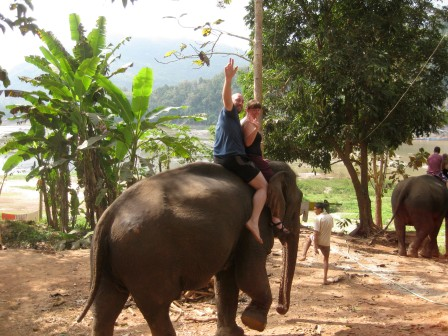 Waving from the elephant's back